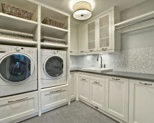 Stunning White Laundry Room Cabinets Ideas at Transitional Laundry Room with Small Tile Backsplash and Concrete Countretop