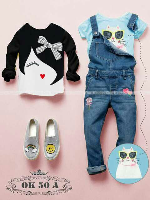 GC169 Overall Anak Cewek Cat Face Ribbon Tosca Size 5th 6th 8th 9th 10th Rp 195.000 (ready)