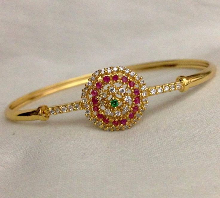 CZ and ruby emerald stone kada Code : BAK 377 Price : 700/- Whatsapp to 09581193795/- for order processing....
