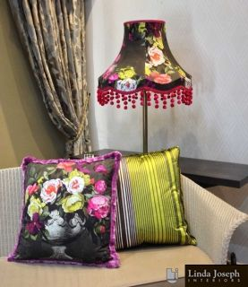 We were asked by one of our valued customers to produce a lampshade and a couple of cushions. We had already made her curtains and sliding panels in the same fabric and were able to produce the 'patchwork' lampshade and cushion fronts out of her left over fabric, we added trims to accentuate both the cushions and lampshade.
