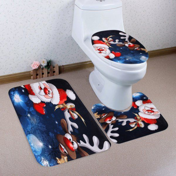 Christmas Santa Deer Pattern 3 Pcs Toilet Mat Bath
