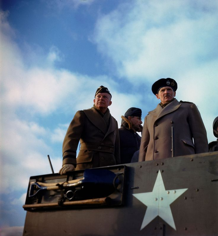 27 Rare Color Photos From WWII / Allied Commander General Dwight D. Eisenhower and British General Bernard L. Montgomery, stand in a US armored vehicle as they review a tank exercise, Salisbury, England, 1944.