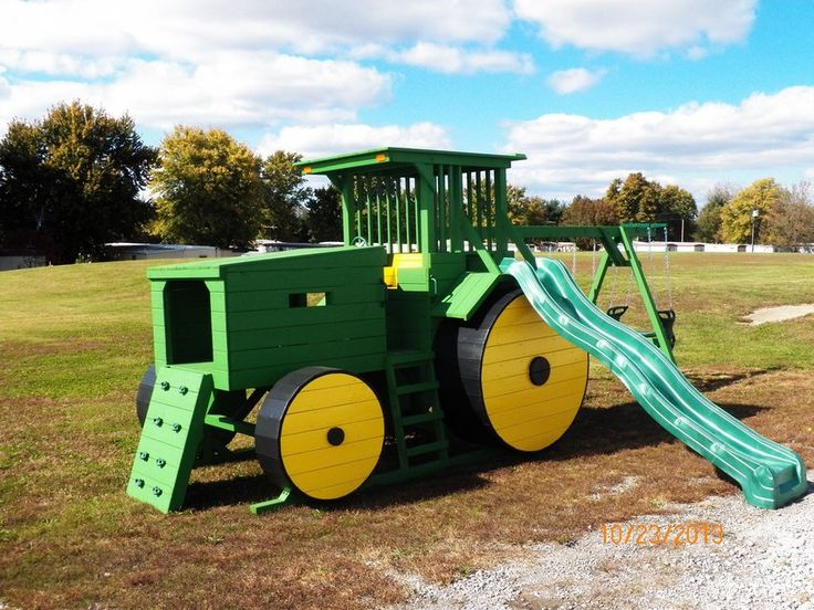 Furnish your yard with a Custom-Built, Top-Quality Tractor Swing Set! Glick's Woodworking has created this new design for every little country boy and girl to enjoy