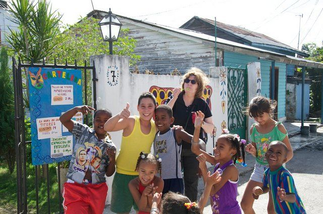 Playing bubbles with kids. The arts in Cuba as seen in Chester County Art Association's two consecutive trips to #Cuba.