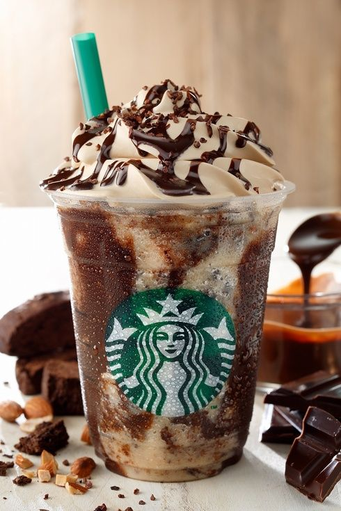 Chocolate Crunch Frappuccino: Coffee Frappuccino blended with chocolate sauce, cacao nibs, crushed biscotti, and almonds, and crowned with coffee-infused whipped cream.