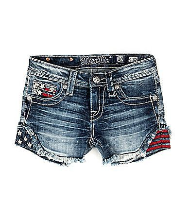 From Miss Me, these shorts feature: - frayed denim - Americana embroidery - two front pockets - one coin pocket - two back pockets - zip fly/button closure; belt loops - cotton/spandex Imported