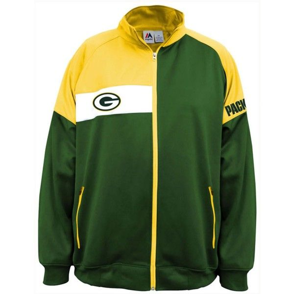 Majestic Men's Green Bay Packers Court Track Jacket (1.050 ARS) ❤ liked on Polyvore featuring men's fashion, men's clothing, men's activewear, men's activewear jackets, mens track tops, mens activewear and mens track jacket