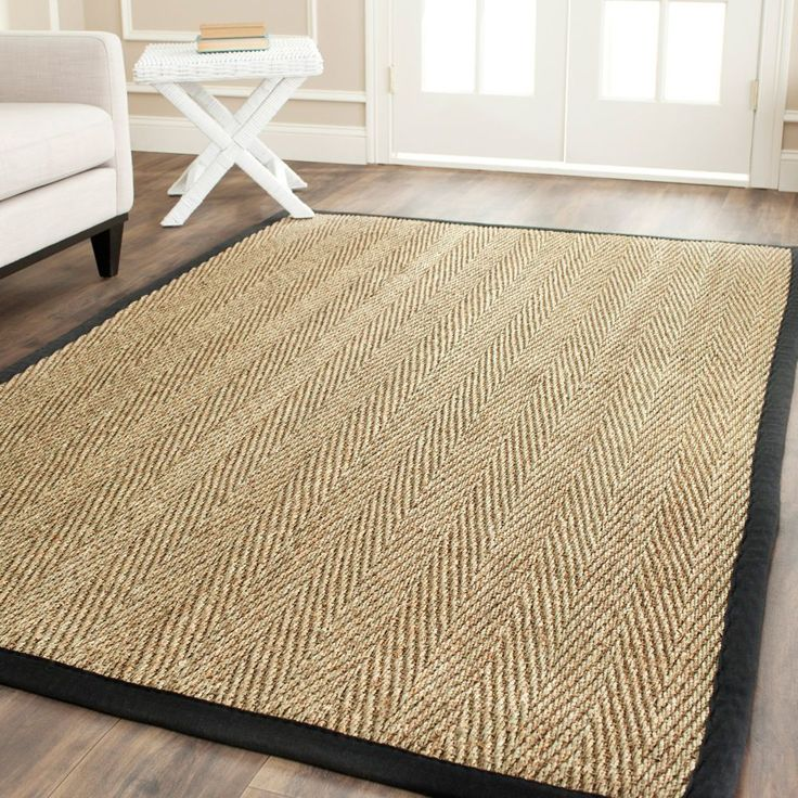 safavieh casual natural fiber handwoven sisal natural black seagrass rug 4u0027