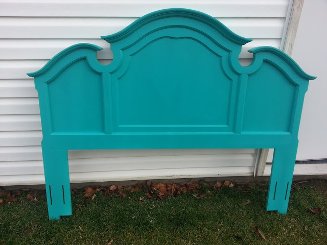 Start at Home: Turquoise Headboard-- maybe a color like this in the queen guest bedroom?
