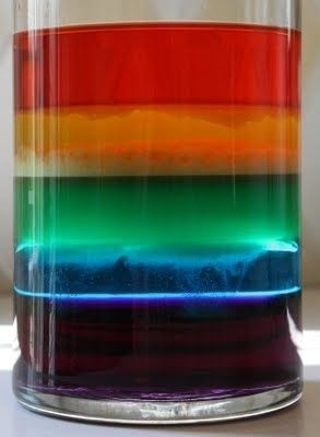 A rainbow in a jar is a lesson in density. | 24 Kids' Science Experiments That Adults Can Enjoy, Too