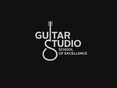 nice logo incorporating type plus graphic // Guitar Studio  by SB