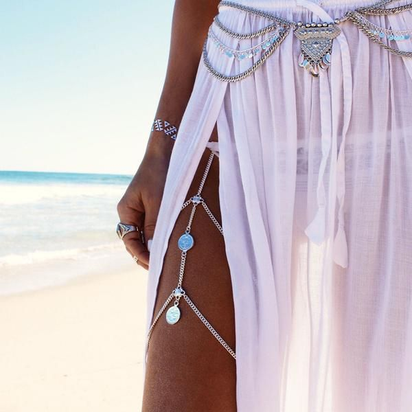 Eternity Silver Coin Thigh Chain (Leg Jewelry/ Body Jewelry)