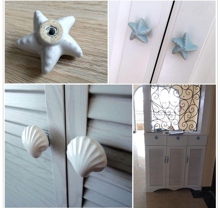 Новый милый морская звезда фарфор ящик ручки и ручки для малыша номеров дверь шкафа кухонный шкаф шкаф потяните купить на AliExpress
