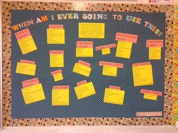 """WHEN AM I EVER GOING TO USE THIS?"" MATH BULLETIN BOARD - TeachersPayTeachers.com"