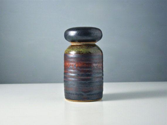 Vintage studio pottery. Hand made lidded storage jar or