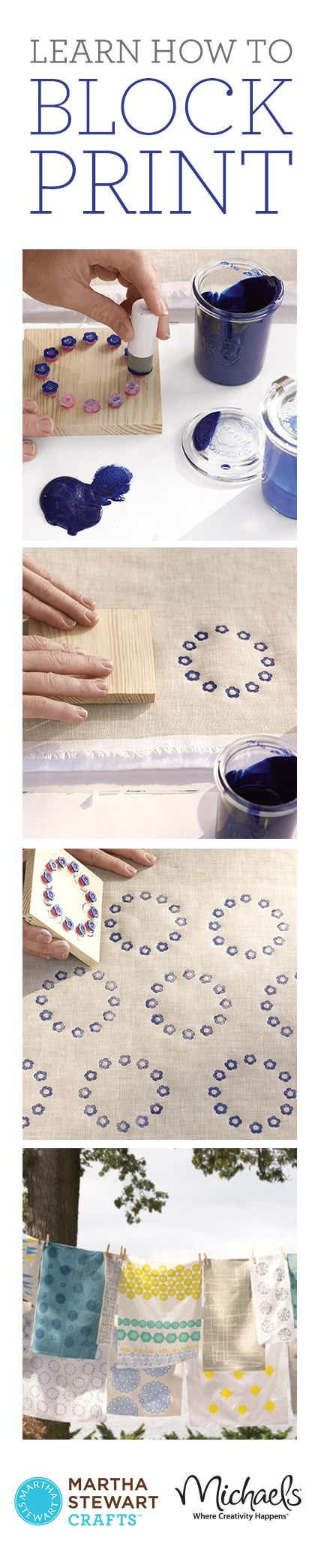 block-printing using everyday objects