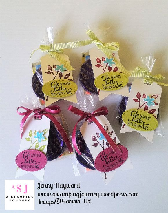 Little treat bags for my Stamping buddies at Onstage.  I called them my Onstage survival Kit with chocolate, tea bag and Post It notes.  Of course you can add anything to it.  The tags are with the Petal Palette stamp set.