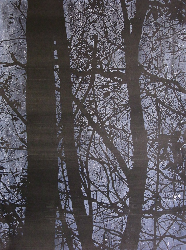 Travelling forest #2 (2010) by Katsutoshi Yuasa; Oil-based woodcut on painted paper; 72cm x 54cm; Artify Gallery