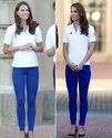 Kate Middleton wore patriotic royal blue skinny jeans with a Team GB polo top and navy wedges