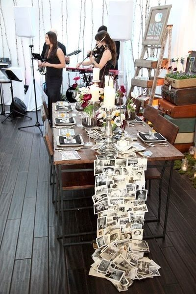 Photo Table Runner - Great idea for an anniversary party or milestone birthday. by elva