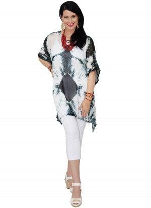 Capri Mid Length Black & White Kaftan Top  AUD $24.95