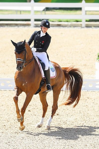 #RIO2016 Cathrine Dufour rides CASSIDY during the Dressage Individual and Team Grand Prix at Olympic Equestrian Centre on August 11 2016 in Rio de Janeiro...