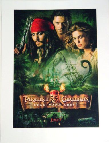 Disneyland Pirates of the Caribbean Dead Mans Chest Johnny Orlando Bloom Kiera Knightley Lithograph  @ niftywarehouse.com #NiftyWarehouse #PiratesOfTheCarribbean #Pirates #Movies #Pirate