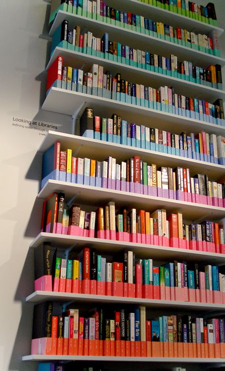 """Color Coded Library  I use to hate library stored by colours, because it's second me a big lake of culture to place a yellow kitchen book near a yellow """"Brett Easton Elis"""" boook just because they are yellow  but this way is just a sort or wizzard job :-)"""
