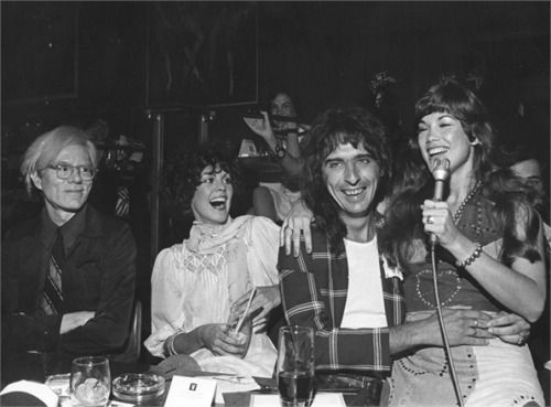 "talkingwithtim: ""Andy Warhol with Alice Cooper and Barbi Benton (circa 1974) """