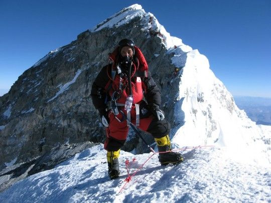 Apa Sherpa near the summit.  Apa Sherpa holds the world record for the most summits of mount everest.