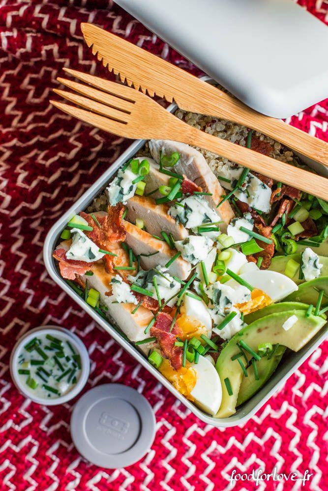 Salade quinoa bleu avocat sucrine poulet