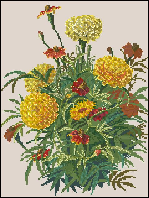 """Free cross-stitch pattern """"Marigold"""". Download free floral cross-stitch patterns , landscapes, cross-stitch for beginners , for kids"""