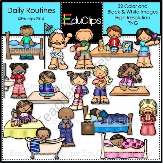 Daily Routines Clip Art Bundle from Educlips on TeachersNotebook.com -  (32 pages)  - Daily Routines Clip Art Bundle