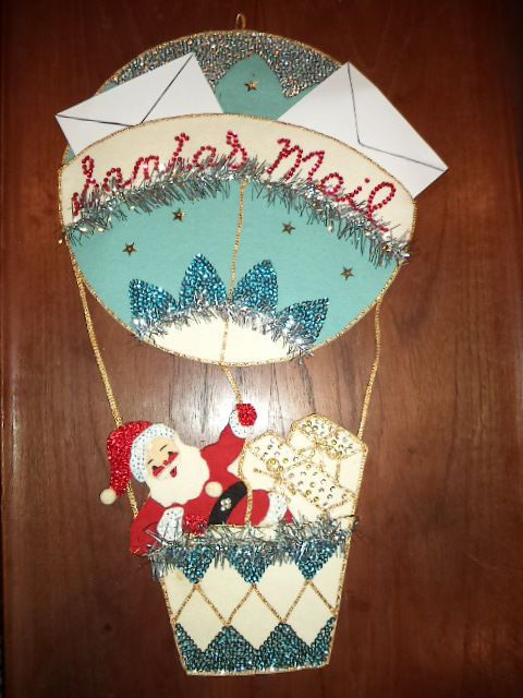 "Large 25"" Vintage Felt Santa Christmas Mail Holder Sequins Hand Stitched 