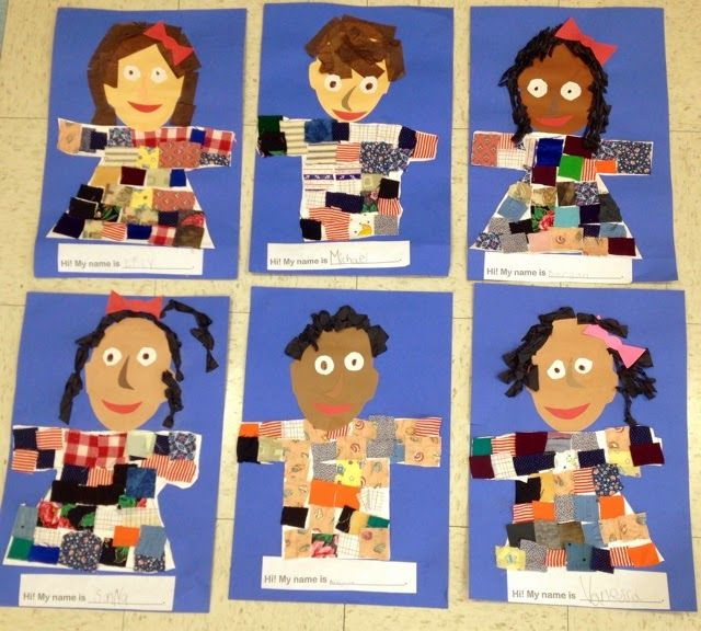 Hi! We're in Kindergarten!      Kindergarten students created fun self-portrait collages.    They loved using a variety of materials such a...