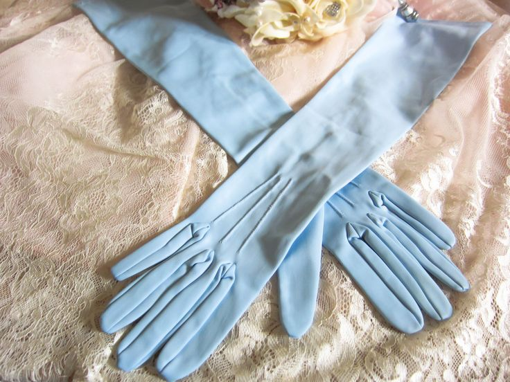 Vintage elbow length gloves, pale blue gloves, vintage wedding gloves, long length gloves, blue gloves, bridal gloves, long prom gloves by thevintagemagpie01 on Etsy