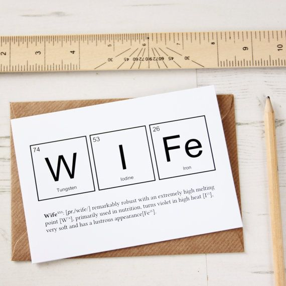 Periodic Table Wife Anniversary Card. by NewtonAndTheApple on Etsy