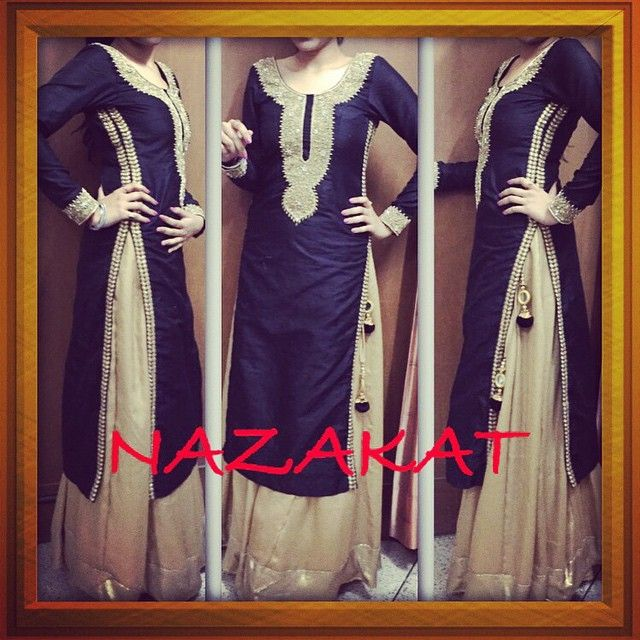 """""""A black long kurta done in raw silk with the bling of golden handwork detailing teamed up with golden sharara pants Colour can be customised  Whatsapp…"""""""