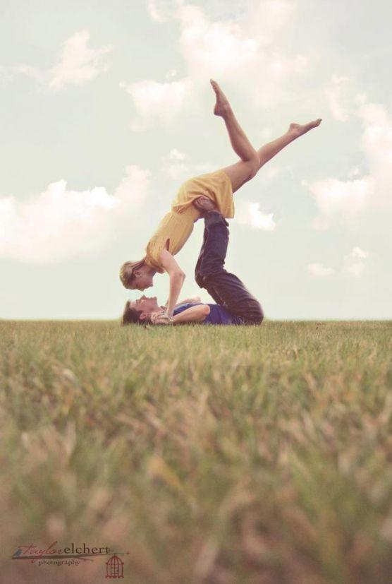 Fun outdoor couple pose