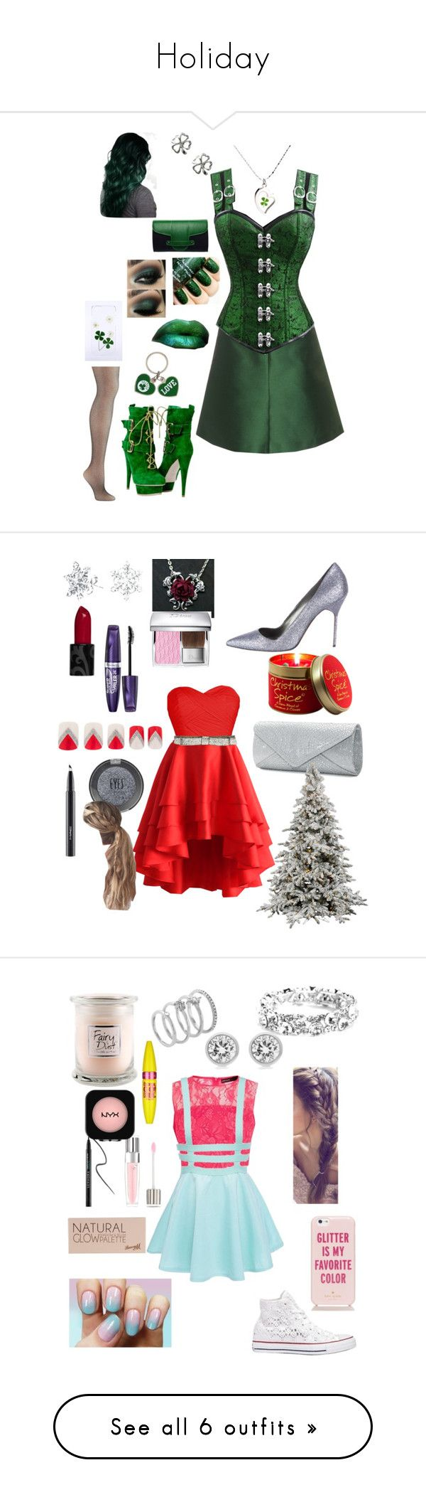 """""""Holiday"""" by goddessofbacon ❤ liked on Polyvore featuring RED Valentino, Kate Spade, Forever Collectibles, Emeline Coates, Chicwish, Manolo Blahnik, Bling Jewelry, Rimmel, Mascara and MAC Cosmetics"""