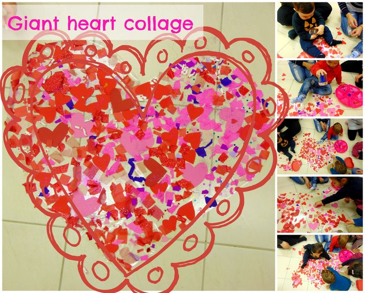 Giant Valentine Collage! Today we made this big Valentine heart collage with our babies & toddlers!!! They absolutely LOVED it!
