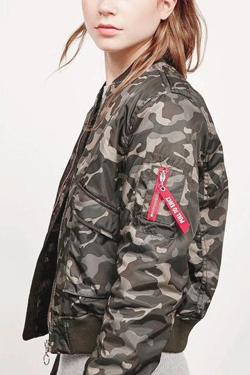 Camuflaje patrón de cremallera diseño chaqueta acolchada con bolsillo interior