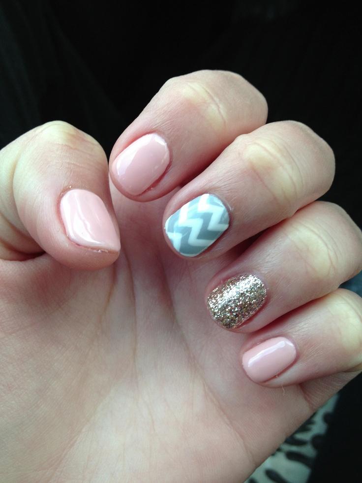 Pink, gold glitter, and grey chevron nails   Nail Art ...