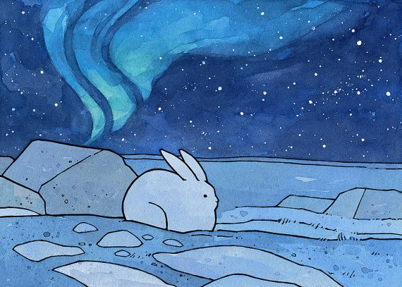 Snowshoe Hare and the Northern Lights - Illustration Print by studiotuesday