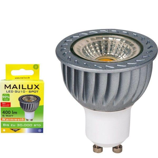 Der MAILUX 6 Watt GU10 LED Spot in Keramik mit klarem Schutzglas für Allgemeinbeleuchtung. Lichtfarbe warmweiß (2700K). Der Spot ersetzt mit 400 Lumen einen ca. 35 Watt Halogenstrahler. Diese Spots haben ein besonders gemütliches Licht. Durch einen engen Abstrahlwinkel setzen Sie die beleuchteten Objekte gezielt in Szene (Akzentbeleuchtung).  http://www.leddiscount.de/led-leuchtmittel/gu10/320/mailux-led-gu10-6-watt-spot-400-lumen?c=7