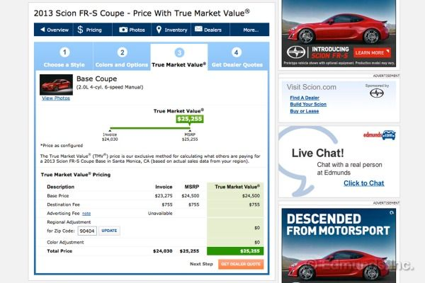 determining true market value (tmv) pricing on cars