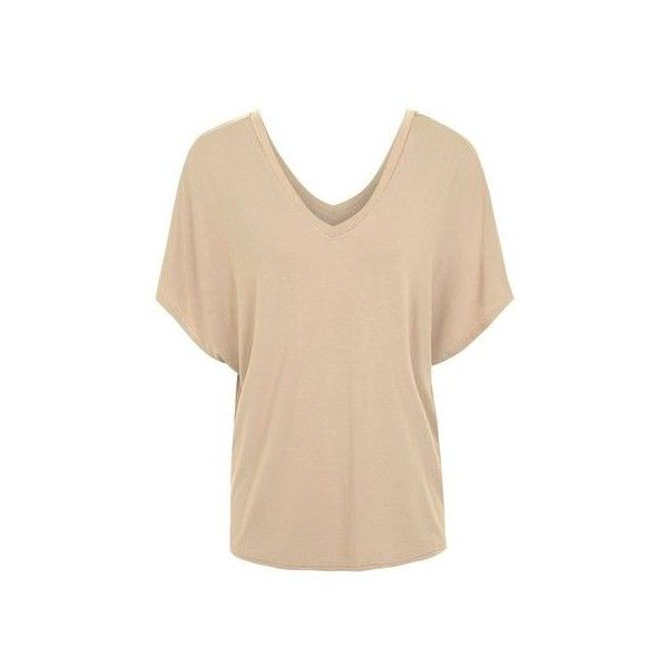 TopShop Batwing T-Shirt ($28) ❤ liked on Polyvore featuring tops, t-shirts, mink, batwing t shirt, beige t shirt, topshop tops, batwing tops and bat sleeve tops
