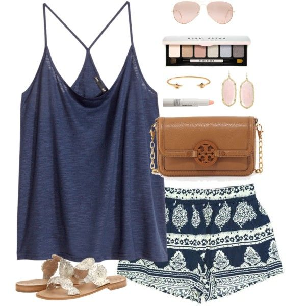 navy & white by classically-preppy on Polyvore featuring polyvore, fashion, style, H&M, Jack Rogers, Tory Burch, Kendra Scott, J.Crew, Ray-Ban, Bobbi Brown Cosmetics and Make