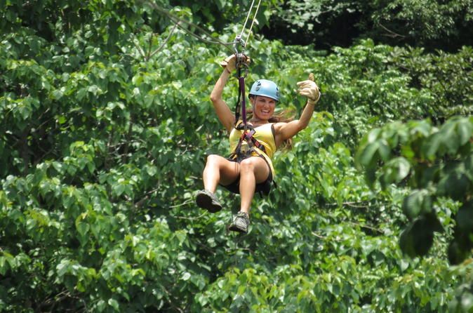 Zipline at Pura Aventura Ziplineclose to Tamarindo and Playa Negra. Enjoy elevenlines and one hanging bridge. The double cable system with double pulley and emergency breaking system assure fun and adrenalinein a safe way.The Pura Aventura zipline tour allows guests to experience the beauty of the Guanacaste landscape while flying through the canopy. The tour begins with a drive through the fields and pastures and into the mountains of the1,400-acre far...