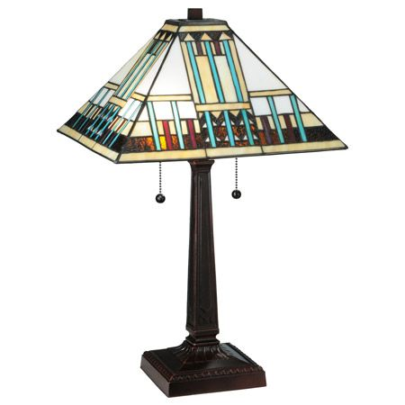 Craftsman lamp made with white glass and beige, root beer, and turquoise accents.